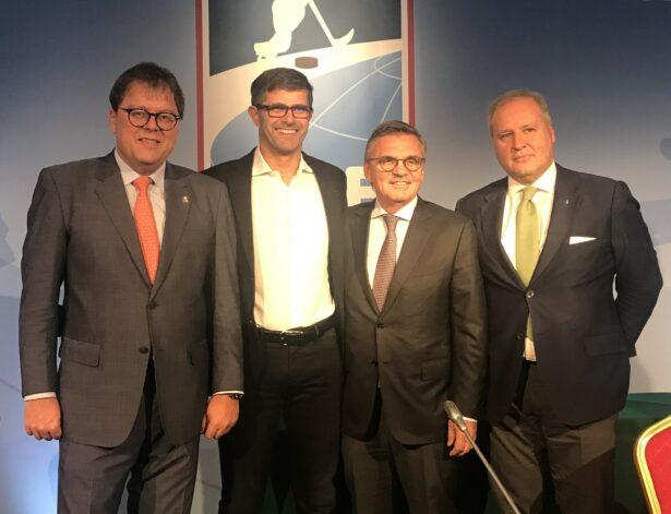 Z leve: Gernot Mittendorfer, predsednik OEHV; Matjaž Rakovec, predsednik HZS; Rene Fasel, predsednik IIHF ter Adrea Gios, predsednik FISG